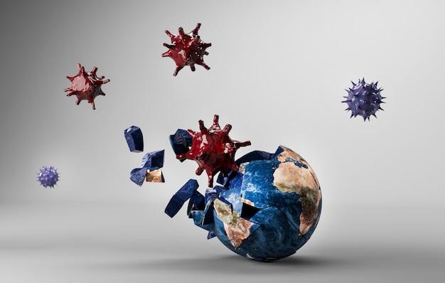 コロナウイルスが地球の3dレンダリングにヒット
