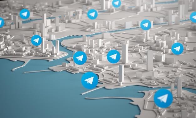 都市の建物の3dレンダリングの航空写真上の電報アイコン