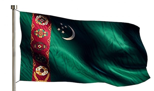 トルクメニスタンの国旗は、3dの白い背景を分離