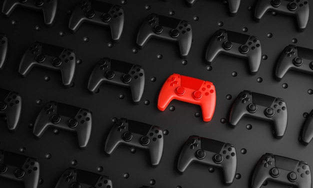 卓越したコンセプト。複数の黒いジョイスティックの背景の間の赤いゲームパッド3dレンダリング