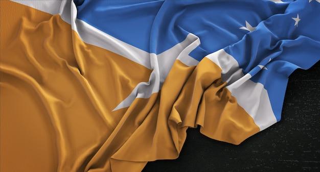 ティエラデルフエゴの旗は、暗い背景にレンダリング3dレンダリング