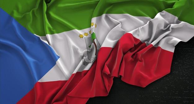 暗い背景にレンダリングされた赤道ギニアの旗3dレンダリング