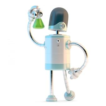 Робот с пробкой. концепция технологических исследований. 3d иллюстрации. содержит обтравочный контур