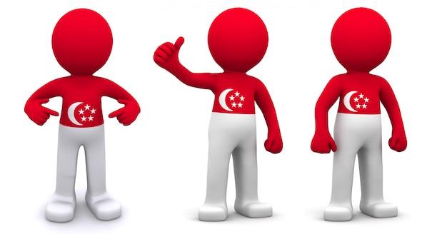 3d персонаж текстурированный с флагом сингапура