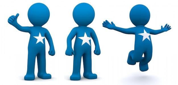 3d персонаж текстурированный с флагом сомали
