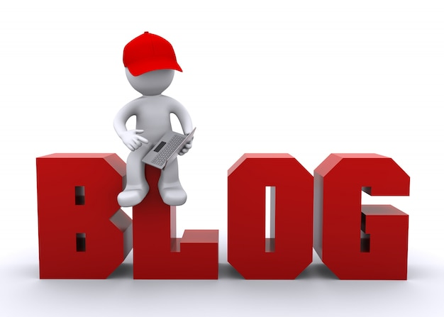 ラップトップとブログのサインの3dキャラクター