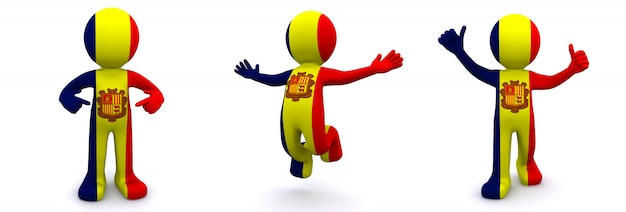 3d персонаж текстурированный с флагом андорры