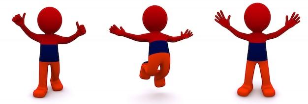 3d персонаж текстурированный с флагом армении