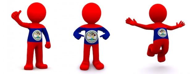3d персонаж текстурированный с флагом белиза