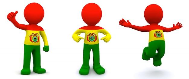 3d персонаж текстурированный с флагом боливии