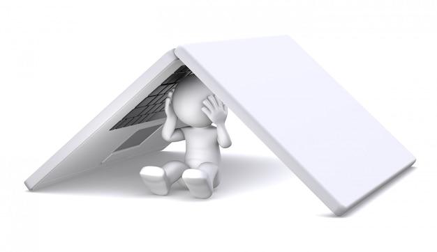3d персонаж прячется под ноутбуком