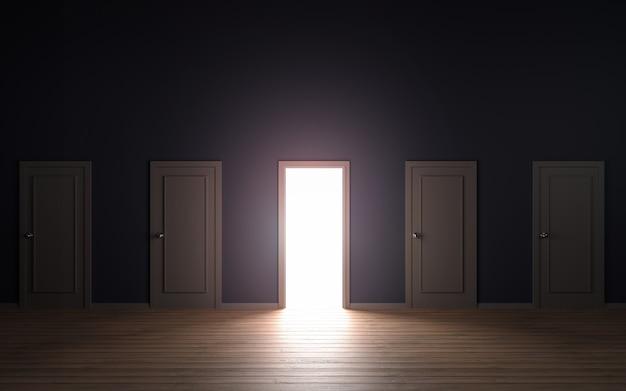 Пустая дверь открыл свет 3d иллюстрации