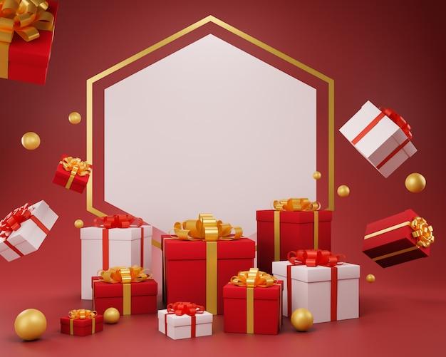 Праздничный новогодний фон с подарочной коробкой, 3d иллюстрация