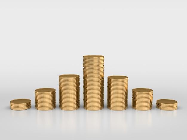 Стеки золотых монет изолированы. 3d-рендеринг.