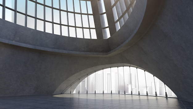 都市の背景を持つ抽象的なコンクリート建築構造。 3dレンダリング