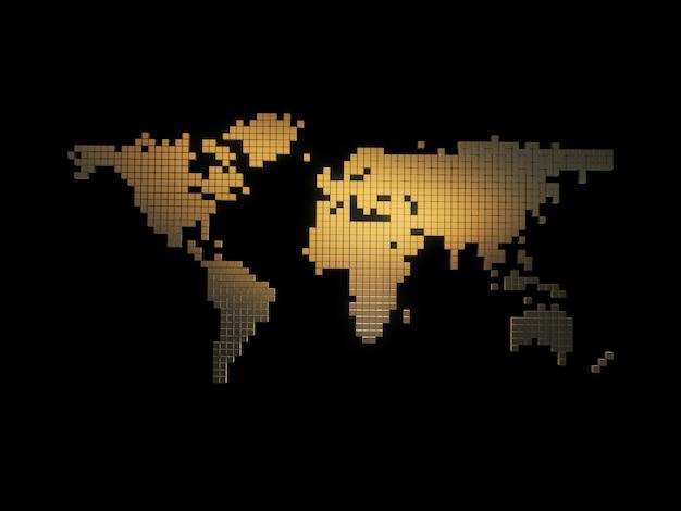 ゴールデンボックスの世界地図。抽象的なマップ。 3dレンダリング