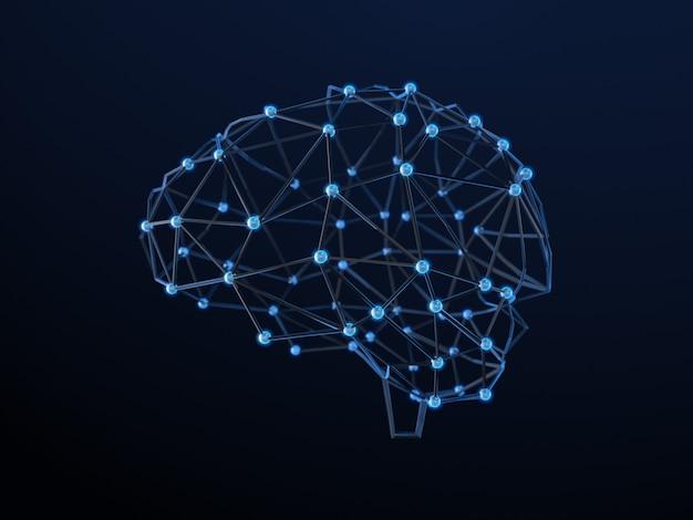点と線から人間の脳を抽象化します。多角形の脳のデザイン。3dレンダリング