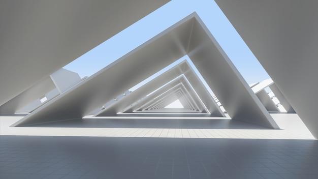 Белая абстрактная архитектура, пустой космос, 3d представляет.