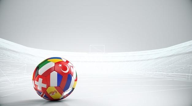 ヨーロッパ諸国とボールアウトラインスタジアム.3dレンダリングとヨーロッパの国旗