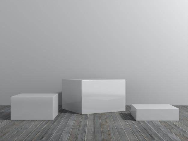 ディスプレイ用台座、デザイン用プラットフォーム、空の部屋を備えた空白の製品スタンド。3dレンダリング。