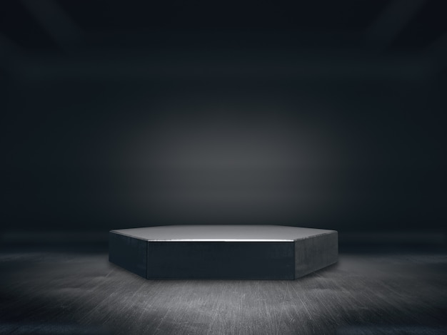 ディスプレイ用台座、デザイン用プラットフォーム、空白の製品スタンド、長い廊下の背景。 3dレンダリング。