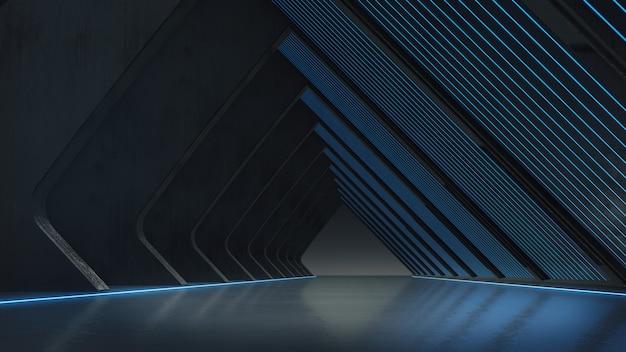 抽象的な構造、明るい輝きを持つ製品のショーケース。3dレンダリング