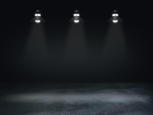 ディスプレイ用台座、デザイン用プラットフォーム、ランプの光スポットを備えた空白の製品スタンド。3dレンダリング。