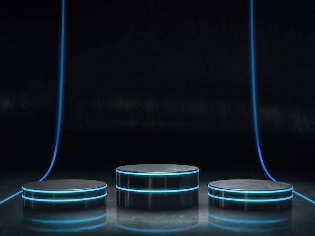 ディスプレイ用六角形台座、デザイン用プラットフォーム、明るい輝きを持つ空白の製品スタンド。3dレンダリング。