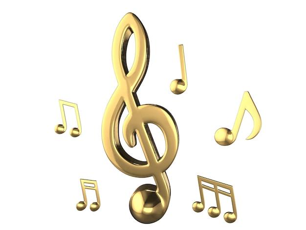 Набор золотых музыкальных нот .3d рендеринг