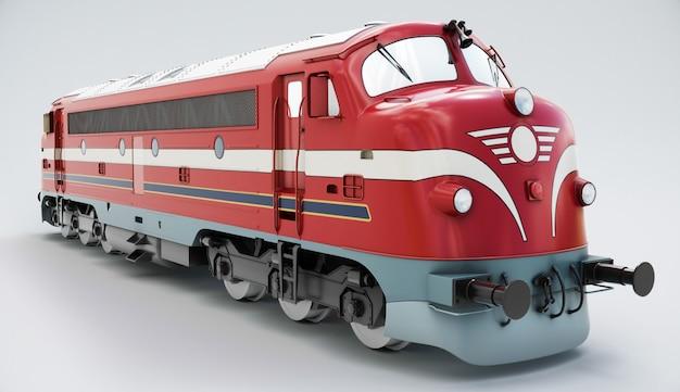 ノスタルガ列車。白で隔離されるディーゼル機関車。 3dレンダリング