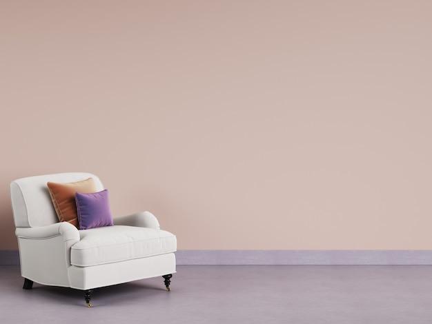 Классическое кресло в пустой комнате. розовая стена, фиолетовый пол, пастельная гамма. 3d-рендеринг