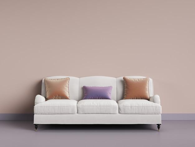 Классический диван в пустой комнате. розовая стена, фиолетовый пол, пастельная гамма. 3d-рендеринг