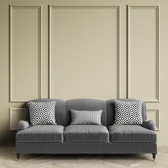 クラシックなグレーのソファー、クラシックなインテリアに幾何学的な黒と白のプリントが入った枕。成形品、床寄木細工のオークヘリンボーンと暖かい灰色の壁。 3dレンダリング