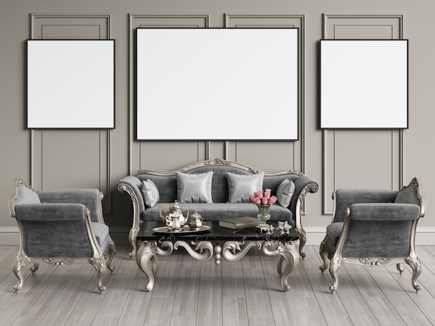 Классический дизайн интерьера с копией пространства. макет. цифровой рендеринг 3d иллюстрации