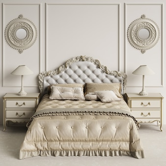 コピースペースを持つ古典的な寝室のインテリア。モックアップ。デジタルイラストレーション。 3dレンダリング