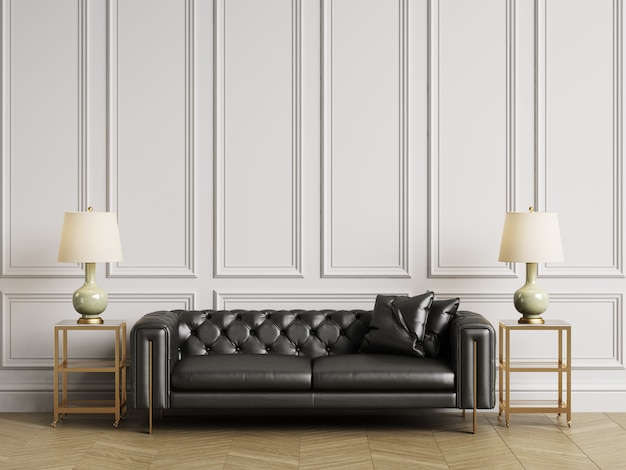Классический тафтинговый диван, тумбочки и лампы в классическом интерьере с копией пространства. белые стены с лепниной. напольный паркет елочка. 3d-рендеринг