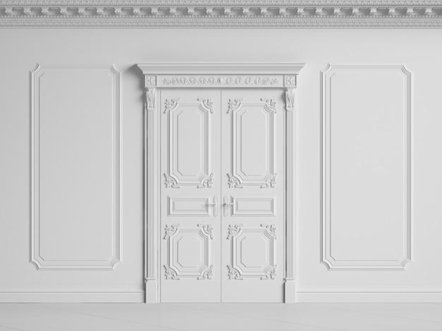 Классическая внутренняя стена с карнизом и карнизами. двери с декором. 3d-рендеринг
