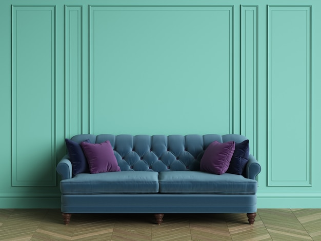コピースペースとクラシックなインテリアの房状の青いソファ。ターコイズ色の壁とモールディング。床の寄木細工のヘリンボーン。 3dレンダリング