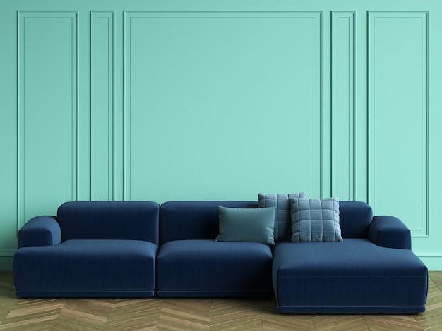 コピースペースとクラシックなインテリアの青いソファ。ターコイズ色の壁とモールディング。床の寄木細工のヘリンボーン。 3dレンダリング