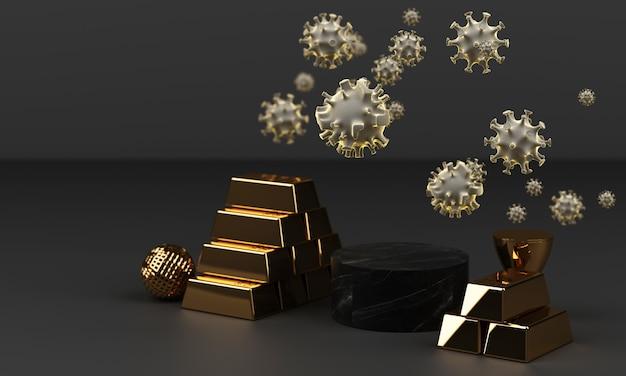 Золотой слиток и монета с коронавирусом, 3d-рендеринг