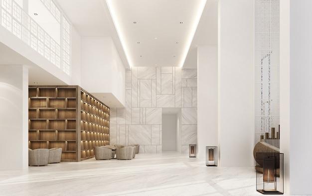 大理石の床と肘掛け椅子セット、木製のビルトイン3dレンダリングを備えたメインホールのダブルスペースインテリアのポルトガル語スタイル