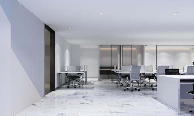 Рабочая зона в современном офисе с белым мраморным полом и конференц-залом, интерьер 3d рендеринга