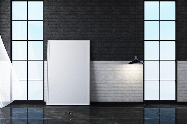 Внутреннее пространство спальни с черной кирпичной стеной 3d рендеринга