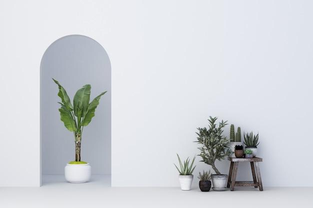 Минималистичная белая арка со многими растениями украшает 3d-рендеринг