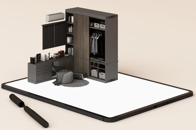 インテリアデザインのコンセプト:画面上のインテリアデザインアプリとタブレットを持ったビジネスマン。 3dレンダリング