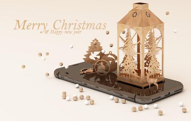 クリスマスの装飾とスマートフォン。ゴールドコンセプトのクリスマステンプレート。 3dレンダリング