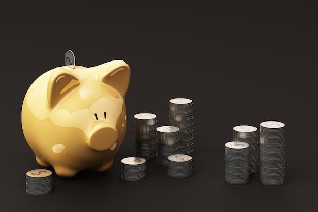黄色のうるさい銀行とコイン、投資資金のため、将来の使用のためにお金を節約するためのアイデア。 3dレンダリング