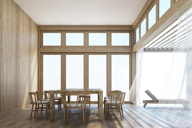Столовая в натуральном стиле и терраса с 3d рендерингом неба