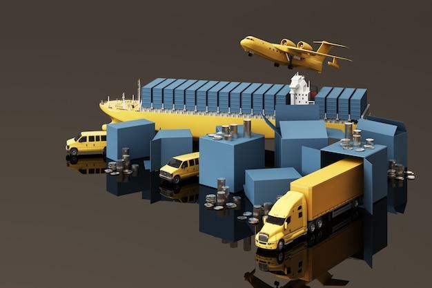 段ボール箱、貨物コンテナ船、飛行計画、車、バン、トラックに囲まれた木箱の3dレンダリング