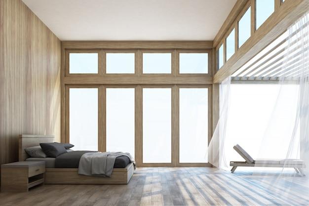 Спальня и терраса в натуральном стиле с 3d рендерингом неба